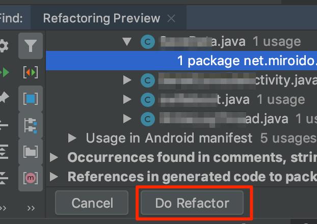 Android Studio Refactor